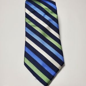 Chaps| Navy blue, blue, green, white striped tie